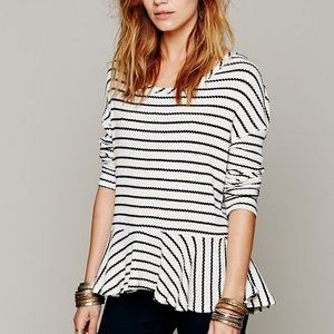 We The Free Auntie Em Thermal Striped Peplum Top